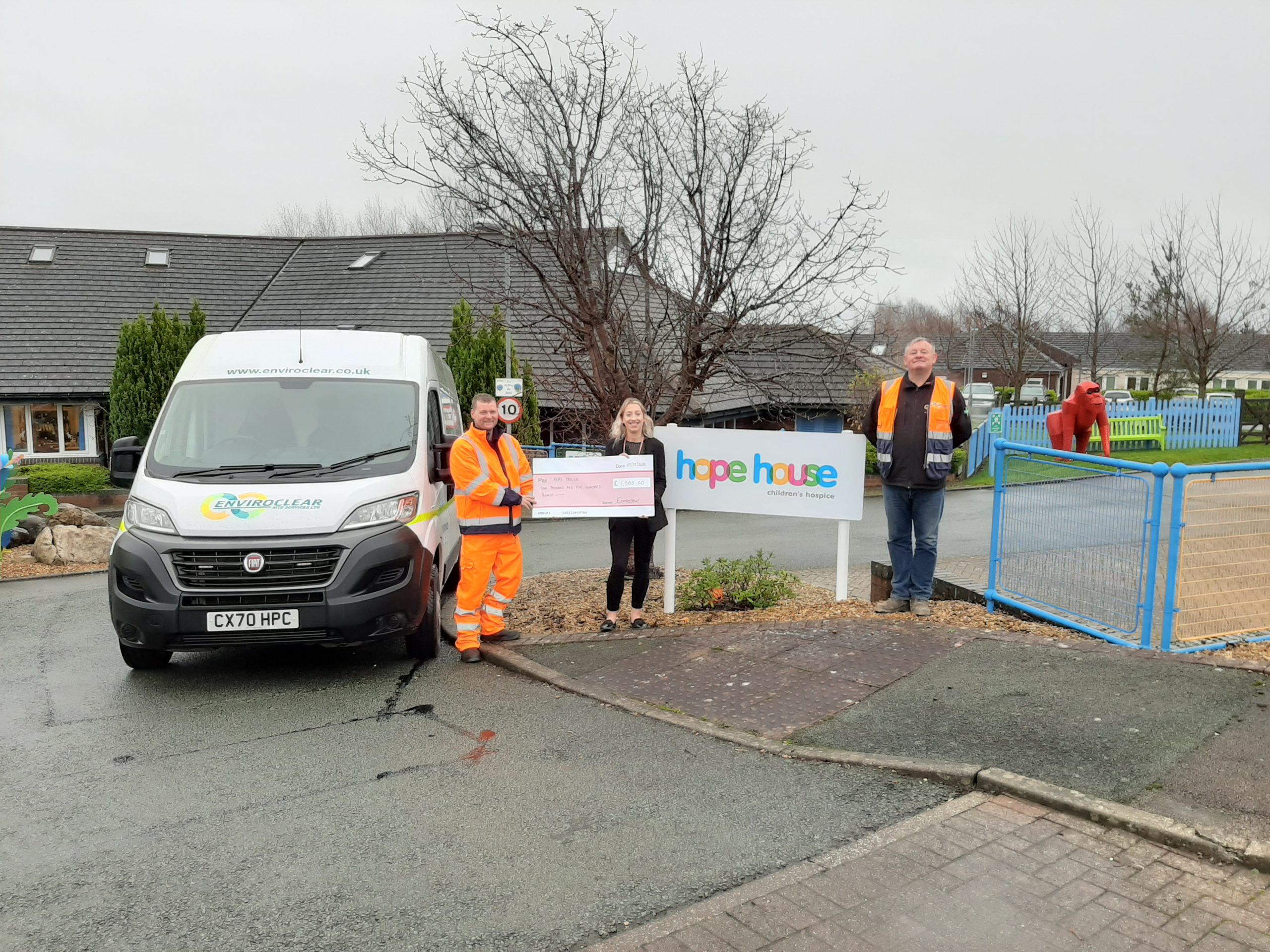 The check was handed over to Hope House staff by our drainage industrial manager David Dean and our disab driver Adam Bolton (holding the check).  We donated £1,500